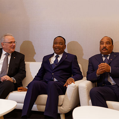 Issoufou Mahamadou, President of Niger - Mohamed Ould Abdel Aziz, President of Mauritania and Neven Mimica, Development Commissioner, EU